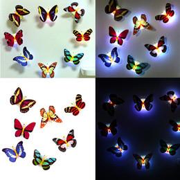 etiqueta da luz da noite Desconto Hot 10 Pcs Adesivos Coloridos Brilhantes Borboleta Luzes LED Night Light Adesivos de Parede 3D Casa Decoração de Casa Adesivo caçoa o presente