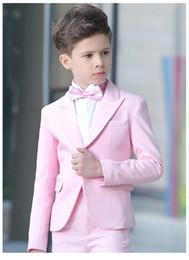 chaqueta de traje rosa para niños Rebajas 2019 slim fit Pink Kid Suit Niños Trajes de Boda Chaqueta a medida Chicos trajes Novio Esmoquin 2 Piezas (Chaqueta + Pantalones)