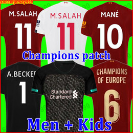 Camisetas de portero de fútbol niños online-Camiseta de fútbol del Liverpool 19 20 chandal de fútbol 2019 2020 M. SALAH VIRGIL MANE FIRMINO KEITA MILNER SHAQIRI campeones porteros hombres + kit para niños de la soccer jersey