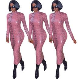 vestito sexy dal cuoio del leopardo Sconti Pelle Autunno Inverno PU del leopardo delle donne sexy abito a maniche lunghe aderente Vestito longuette ufficio sexy Club Matita Partito Abiti Vestidos