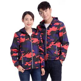 blousons militaires femmes rouges Promotion Japon style rouge bleu Camouflage Imprimer Réfléchissant Brillant Imperméable Extérieur Unisexe hommes femmes vestes mignonnes Russie militaires manteaux à capuchon