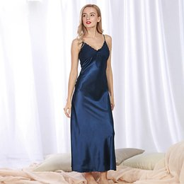 2018 Hot Style Women s Underwear Sexy Nightgowns Slit Skirt Mimetic Silk  Nightdress Large Size Home Wear 40ab39b3f