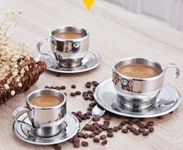 2019 set di tazze d'acciaio Set da tè da caffè in acciaio inossidabile da 160 ml Tazze da caffè a doppio strato Tazza da caffè Tazze da latte con piatto e cucchiaio GGA2646 set di tazze d'acciaio economici