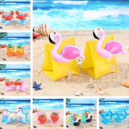 Circulo de cereza online-Bebé nadar brazo círculo cangrejo piña cereza flamenco PVC inflable flotar brazo círculo niños nadar mangas nadar anillo piscina flotante anillo 4685