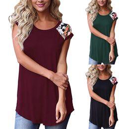 2019 farbblock t-shirts Sommer-koreanische beiläufige lose Damen-Kleidung-Frauen-beiläufige Blumendruck-Farben-Block-Kurzschluss-Hülsen-T-Shirts s Oberseiten ästhetisch rabatt farbblock t-shirts