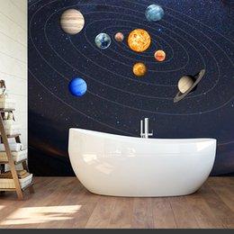 9 светящиеся планеты акварель Луна светящиеся наклейки Вселенная пространство стены наклейки Светящиеся обои наклейки детская комната украшения от Поставщики полосатые обои металлические