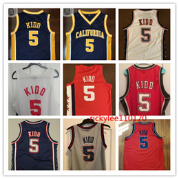Netzstickerei online-NCAA Kalifornien Basketball Jersey College New Jersey Jason 5 Kidd Throwback Jersey Netzmasche genähte Stickerei benutzerdefinierte Größe S-5XL
