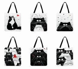 Bolsas de lino blanco online-Bolso de mano estampado con estampado de gato blanco y negro para mujer Bolso de tela de lino Bolso informal plegable de compras al aire libre Bolso diario de playa