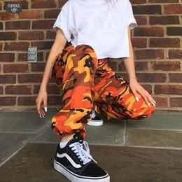 Pantalones cargo camo naranja online-Camuflaje Naranja pantalones pantalón púrpura de las mujeres Camo rosado Pantalones Pantalon Femme pantalón cargo Harem Pantalones Mujer
