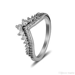 anillo de vaqueros Rebajas Compatible con el anillo de joyería Pandora Princess Princess Wish rings Con CZ 100% 925 joyería de plata esterlina al por mayor DIY para mujeres