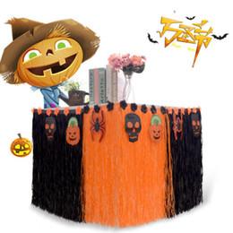 2019 decoraciones de fiesta negro naranja Faroot partido de la falda Tabla de Halloween Decoración de malla de nylon Naranja Negro rayada W / gancho decoraciones de fiesta negro naranja baratos