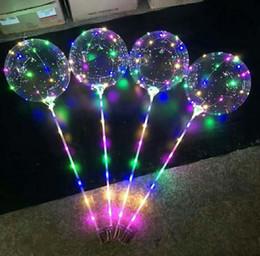 ghirlande di perle di vetro Sconti New LED Lights Balloons Night Lighting Bobo Ball Multicolor Decoration Balloon Palloncini decorativi luminosi accendino matrimonio con bastone