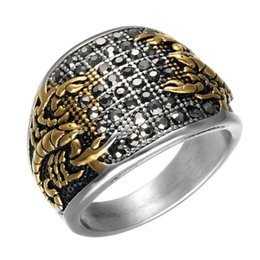 2020 escorpión oro cristal Punk Vintage Black Crystal Scorpion Pattern Mens Ring Gold Color Round Steel Steel Titanium Rings for Men Jewelry escorpión oro cristal baratos