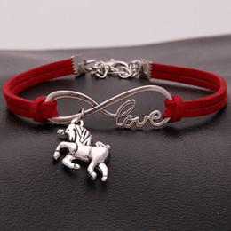 Joyas infinito amor online-2020 Unicorn Horse Bracelet Bangle Handmade Leather Love Unicorns Horse Believe Charm Infinity Bracelets Women Jewelry Gift 19 Styles M599F