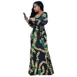 2019 chaînes d'or pour les vêtements Afrique Vêtements À La Mode Chaîne En Or Imprimé À Manches Longues Ceinture Maxi Robe Femmes Automne Moulante Robe Longue Partie Plus La Taille S-XXXL chaînes d'or pour les vêtements pas cher