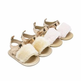 white toddler girls sandals Promo Codes - Baby sandals infant girls faux fur flat casual shoes toddler kids soft non-slip pre walkers infant kids breathable outdoor shoes F5817