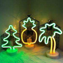 2019 sinais de piscina Sinal de néon LED Neon Lights USB / Árvore de Natal Battery Power lâmpada de néon para presentes de aniversário de criança Bedroom Home Decor Flamingo Cactus Noite Lamp