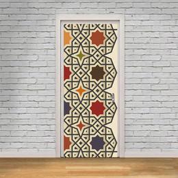 2pcs / ensemble porte autocollants kaléidoscope style méditerranéen couleur noir et blanc carreaux mosaïque chambre porte en bois décoration de la maison autocollant ? partir de fabricateur