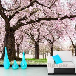 Murale rosa albero online-custom romance pink flower tree Carte da parati 3D Cherry Blossom Wallpaper Murales per la TV sullo sfondo Camera di nozze papel de parede