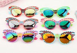Kinder cartoon gläser rahmen online-Nette Karikatur-Sonnenbrille scherzt Schutzbrillen Sunblock Kinder Mädchen Jungen Eyewear Gläser Plastikrahmen-UVschutz bunt