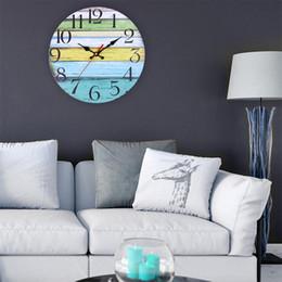 Batterie europee online-2019 Simple 30cm vento rurale orologio da parete MDF europeo creativo orologio da parete decorativa domestica (senza batteria)