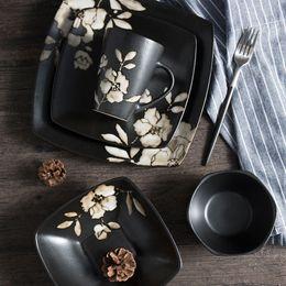 Pintando platos de cerámica online-pintado a mano de estilo japonés Negro placa de cerámica de la flor del hibisco vajilla Impreso tazón de fuente cuadrado restaurante japonés Plato de placas Copa Display