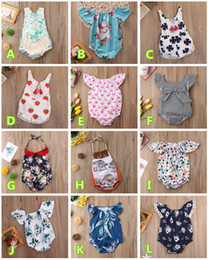 Vestiti di fragola da bambini online-Neonata neonato pagliaccetto onesies capretto tuta animale floreale a strisce limone cactus fragola tuta estiva tutina 0-24 M