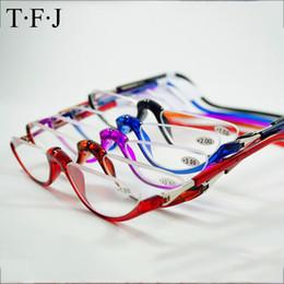 Óculos pendurados de plástico on-line-Metade Sem Aro Magnética Dobrável Leitores de Óculos de Leitura + 1.0 1.5 2.0 2.5 3.0 Pescoço Pendurar Óculos de Plástico Quadros Ímã Gafas De Lec C19042001