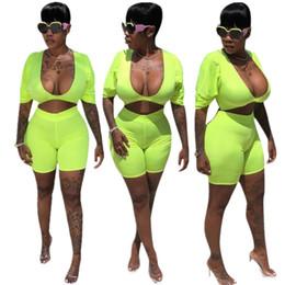 a9ec886e726d 2019 neon jumpsuits 2019 Nova Cor de Néon Sexy Skinny Macacão Mulheres  Macacão Duas Peças Sexy