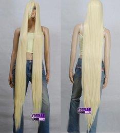 Nuevas pelucas doradas online-WIG LL NEW STYLE Free 150cm light golden blonde Heat Styleable Extra Long Cosplay Pelucas