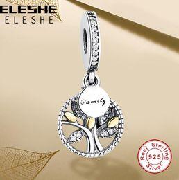 2019 boules de laiton creuses Luxe 925 Sterling Silver FAMILLE ARBRE AVEC ZIRCONE CUBIQUE Perles Charms Fit Original Pandora Charm Bracelet DIY Authentique Bijoux