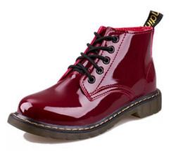 botas de mujer con cordones Rebajas Venta caliente- Botas de charol de tacón de cerdo Zapatos de cordones de estilo escolar para mujer Botines de moto rojos y negros