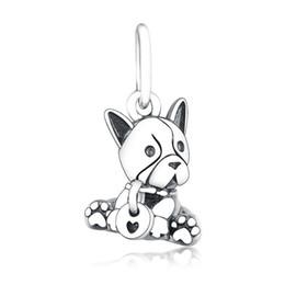 Pulsera de cachorro online-Nueva Auténtica Plata de Ley 925 Bulldog Cachorro Cuelga Encantos Perlas Adapta Pandora Pulseras Collares Diy Charm Plata 925 Joyas