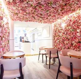 2019 heiße rosa pfingstrose blume Dekorative Blumenwand 40x60cm schöne Seide stieg die künstliche Blume der Hochzeitsdekoration hohe Qualität romantische Hochzeit Hintergrunddekoration
