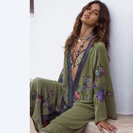 f59f2cdc54b Long Sleeve Bohemian Cardigan Flower Embroidery Maxi Long Dress Beach  Holiday 2019 Woman Sexy V Neck Loose Dress Summer Sundress