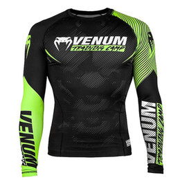 2019 camisas longas do spandex da luva dos homens Venum Impresso Mens T-shirts MMA Sports Skinny manga comprida O pescoço dos homens Tops Masculino treinamento de boxe Tees camisas longas do spandex da luva dos homens barato