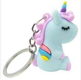 2019 caja de teclas fiat Multi-color cute cartoon PVC soft metal doll keychain unicorn car keychain small gift creative bag pendant car keychain