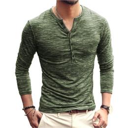 2019 le camicie degli uomini alla moda SHOKOTANO uomo Henley camicia manica lunga elegante Slim Fit Tee Top colletto con bottoni Casual T-shirt uomo Outwears Design popolare Tee le camicie degli uomini alla moda economici