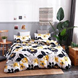 Pintando folha negra on-line-NOVA treliça Rei jogo de cama capa de edredão fronha folha de cama Mandala Elefante animal home textile preto branco pintura planta