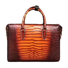 Borsa a tracolla arancione online-Zaino in pelle sacchetto di mano Orange Man Borsa Borsa Business Casual coccodrillo pancia Mens Messenger Borsa a tracolla