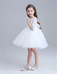 Hermosos tutus online-Hermoso diseño blanco Princesa falda bebé niñas tutus Verano media manga falda Vestidos de fiesta para niños niñas Princesa Vestido