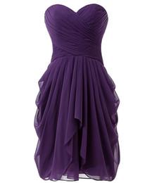Vestidos de bola roxa curta on-line-Chiffon Vermelho Curto Roxo Dama de Honra Vestidos Barato vestido de Baile Querida Plissada Hortelã Verde Vestido de Dama De Honra Vestidos de Festa de Casamento Vestido