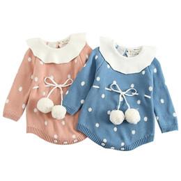 Maglione appuntito online-Baby Girls Pagliaccetti Neonato Vestiti Ragazze Tute Colletto foglia di loto Maglione Wave Point Cintura di lana 6