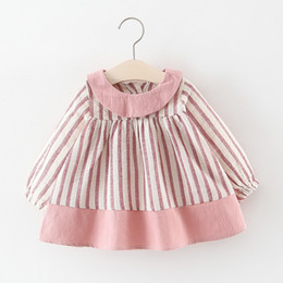 3853be998 Little Girls Stripe Dresses Tops Spring 2019 Kids Boutique Clothing Korean  1-4T Baby Cotton Girls Long Sleeves Tops Dresses Cute