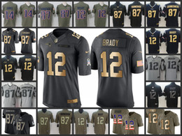 magliette camouflage unisex all'ingrosso Sconti New Jersey da uomo Patriots Ricamato Englan # 12 Tom Brady 87 Rob Gronkowski 14 Brandin Cooks Maglia da calcio giovanile da donna