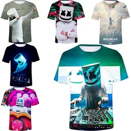2019 legal impresso camisetas DJ Marshmello Rosto Design T-Shirt de Manga Curta 3D Impressão Dos Desenhos Animados Top Tee Mulheres Homens S-4XL Plus Size Treino Top Engraçado Legal Tshirts A53004 legal impresso camisetas barato