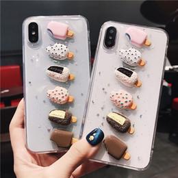 Iphone 3d eiscreme online-Luxus glitter 3d sommer eiscreme telefon case für iphone x xs xr xm 6 6 s 7 8 plus transparent nette weiche tpu bling rückseitige abdeckung