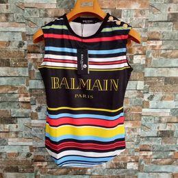 2019 pantalones cortos Balmain para mujer diseñador camiseta mujer ropa arco iris manga corta Balmain para mujer tanques camisetas tamaño S-L pantalones cortos baratos