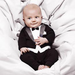 Tuta gentile online-2 colori Newborn baby gentleman Pagliaccetti Baby kids Cartoon gentleman Abiti a maniche lunghe Tuta Toddler Tuta da arrampicata Tute M277