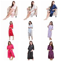 túnica larga noche Rebajas 9 Colores de Seda de Las Mujeres Sólido Traje de Novia Dama de Honor de La Boda Novia Vestido kimono Pijamas Largos Noche de Verano Señora Ropa de Dormir LJJA2508